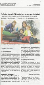 article sur garde enfants proxim services Ouest France 15-12-16